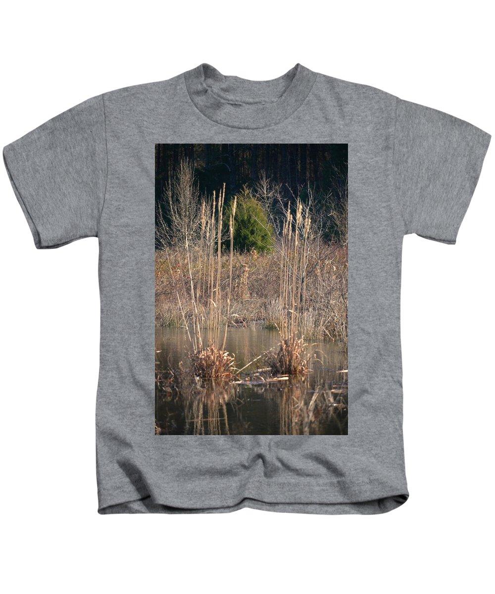 Reflections Of Winter Past 2014 Kids T-Shirt featuring the photograph Reflections Of Winter Past 2014 by Maria Urso