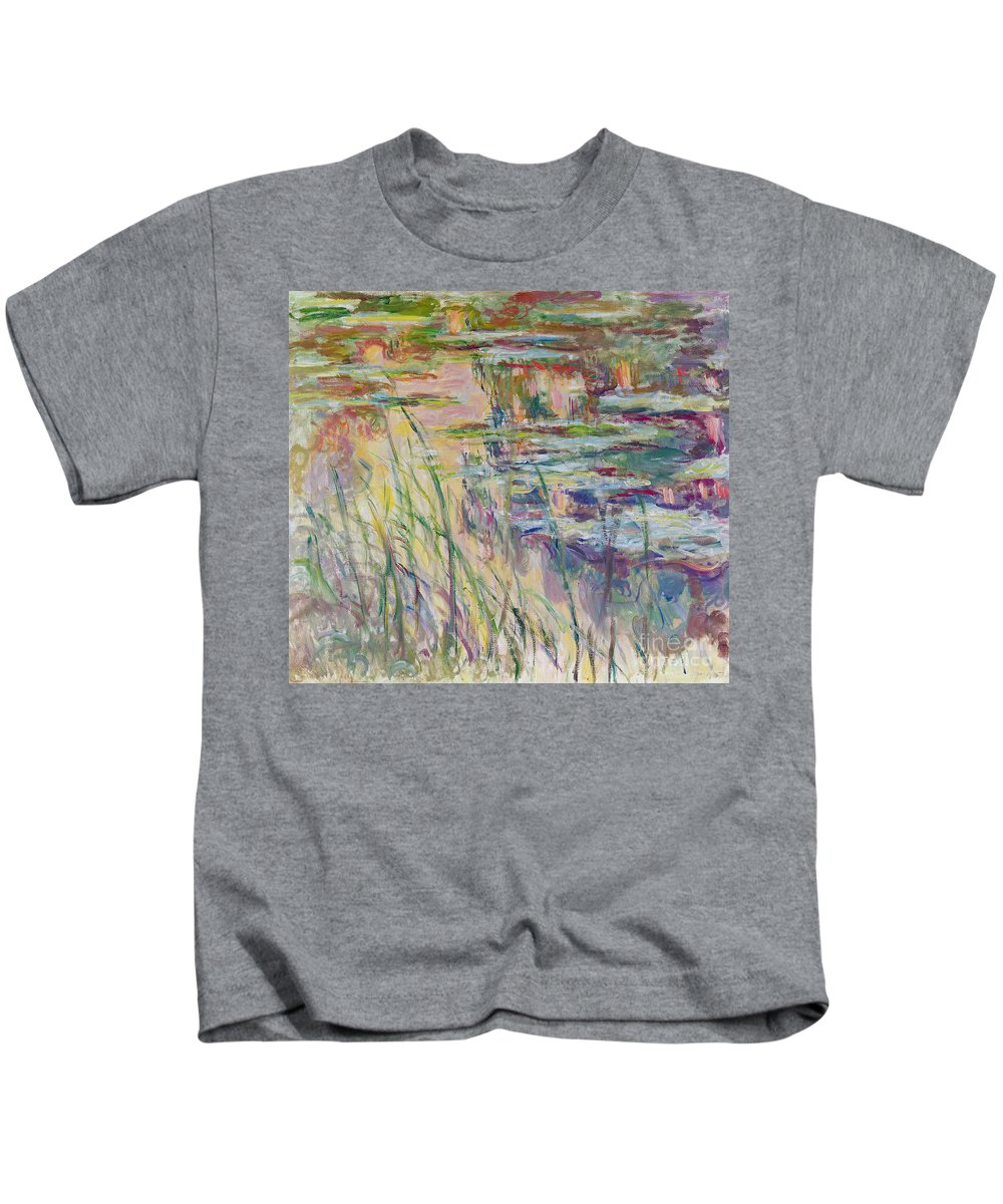 Reflection Kids T-Shirt featuring the painting Reflections On The Water by Claude Monet