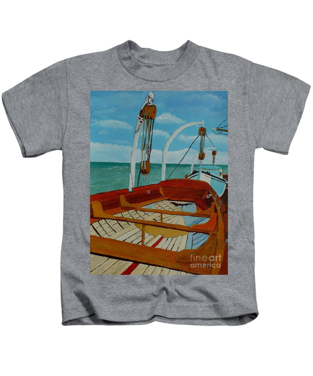 Lifeboats Kids T-Shirt featuring the painting Rescue Me by Anthony Dunphy