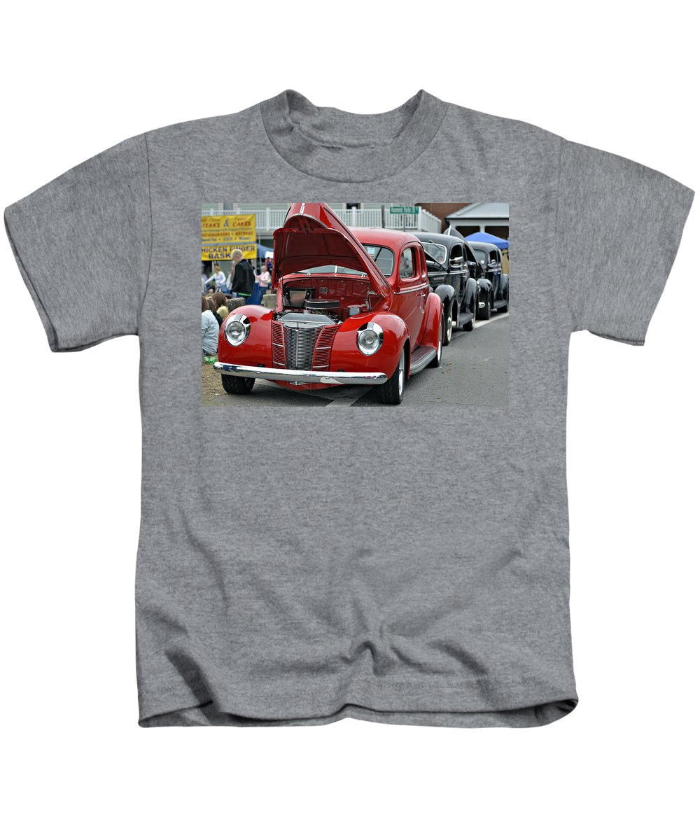 Antique Kids T-Shirt featuring the photograph Restored Classic Cars by Susan Leggett
