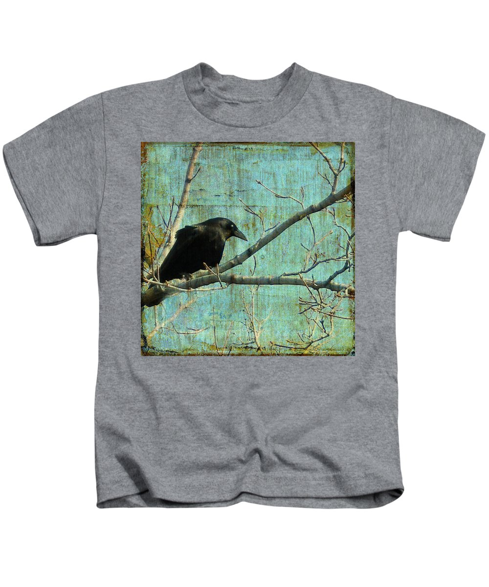 Vintage Blue Kids T-Shirt featuring the digital art Retro Blue - Crow by Gothicrow Images