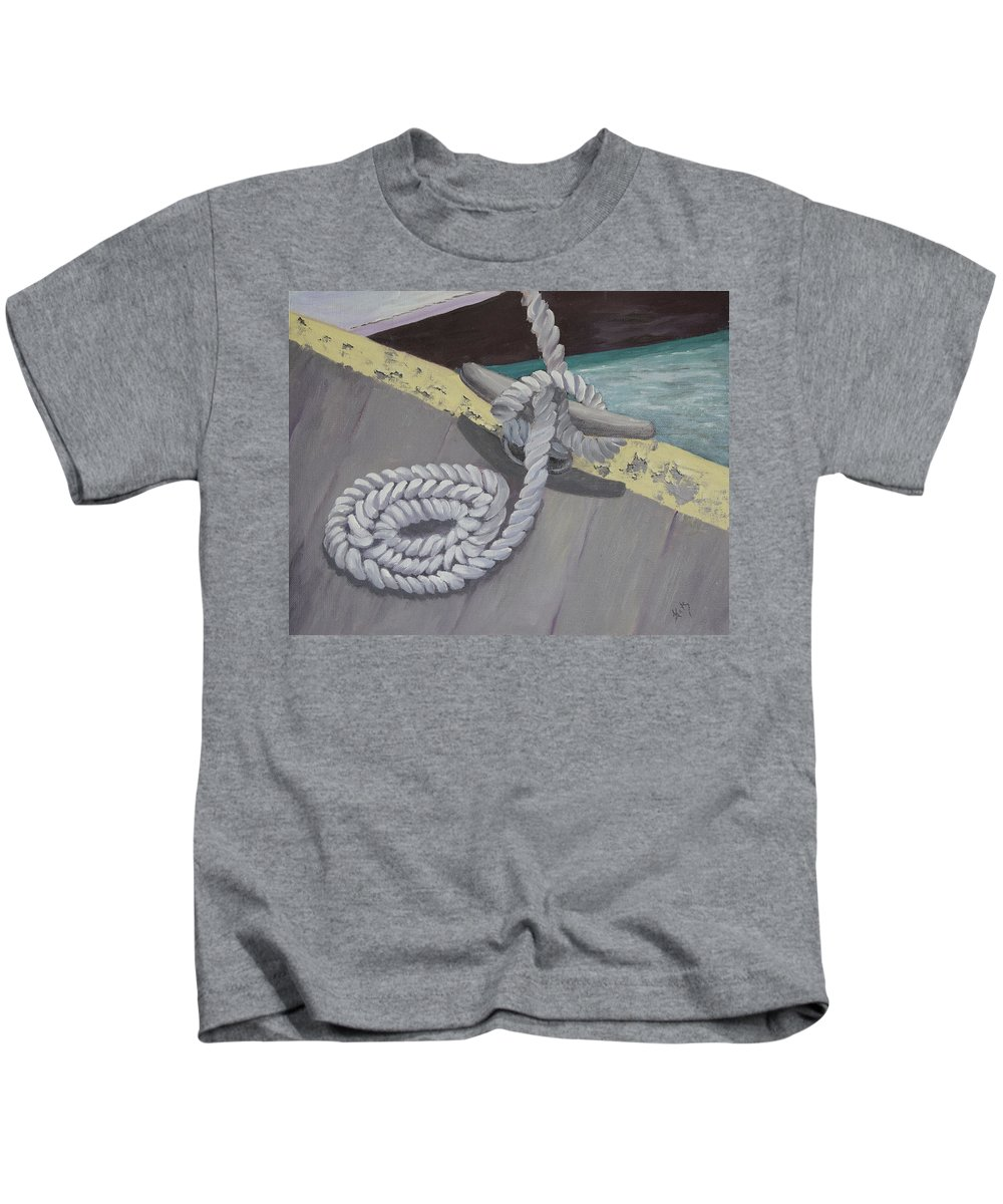 Sailing Kids T-Shirt featuring the painting Return To Port by Kathy Przepadlo