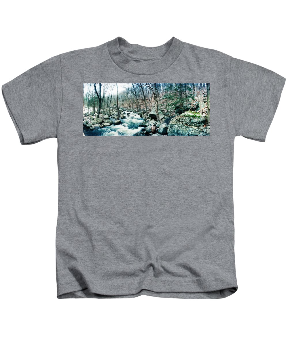 Photography Kids T-Shirt featuring the photograph River Flowing Through A Valley, Hudson by Panoramic Images