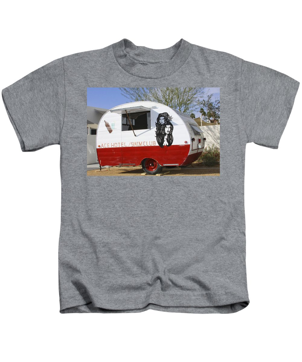 Airstream Kids T-Shirt featuring the photograph Rock Away Trail Riders Palm Springs by William Dey