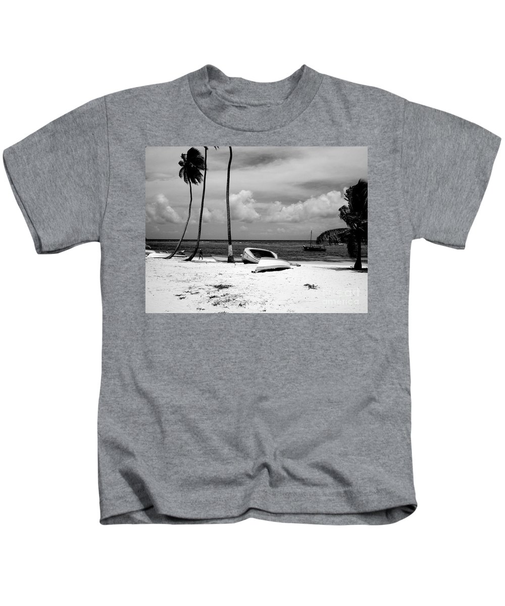 Palm Kids T-Shirt featuring the photograph Rock The Boat Black And White by Heather Kirk