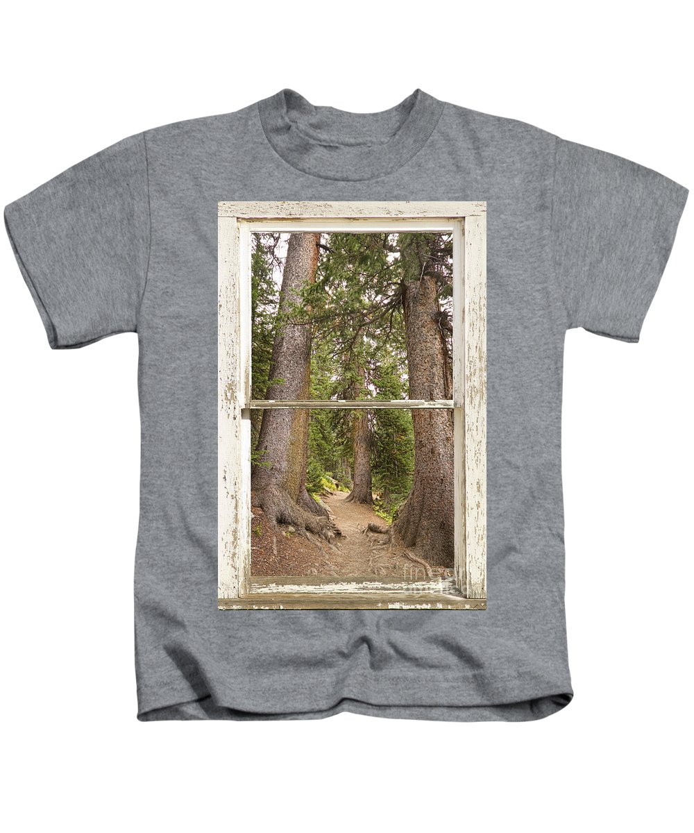 Forest Kids T-Shirt featuring the photograph Rocky Mountain Forest Window View by James BO Insogna
