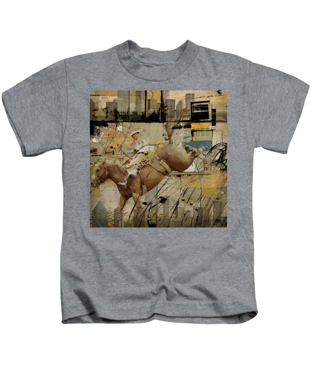 Rodeo Kids T-Shirt featuring the painting Rodeo Abstract 001 by Corporate Art Task Force