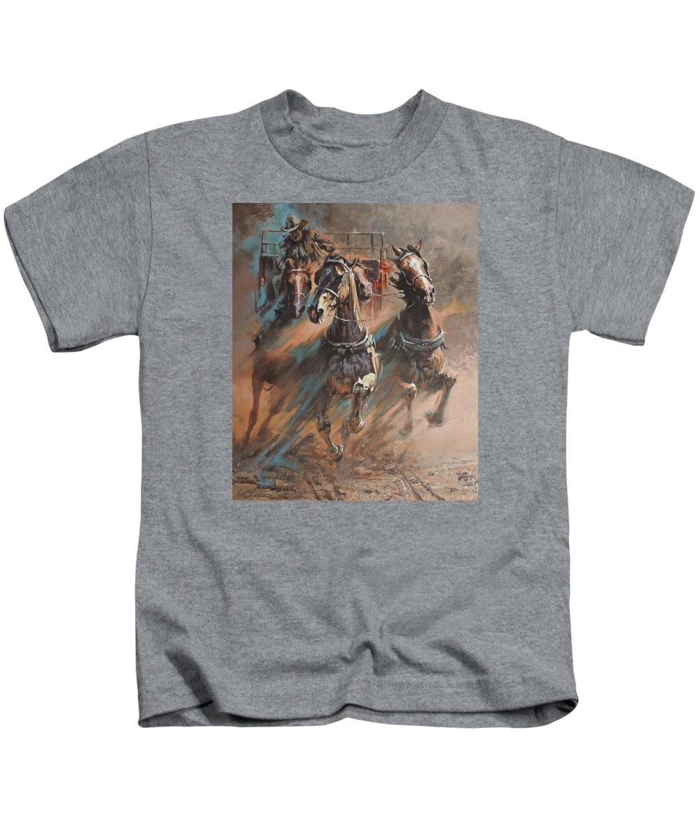Horses Kids T-Shirt featuring the painting Rolling Thunder by Mia DeLode