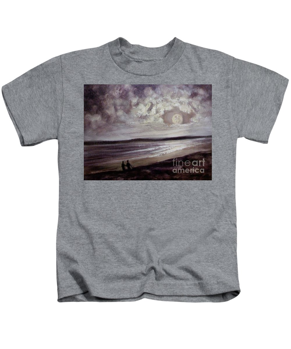 Romance Kids T-Shirt featuring the painting Romance Under The Moon by Randy Burns