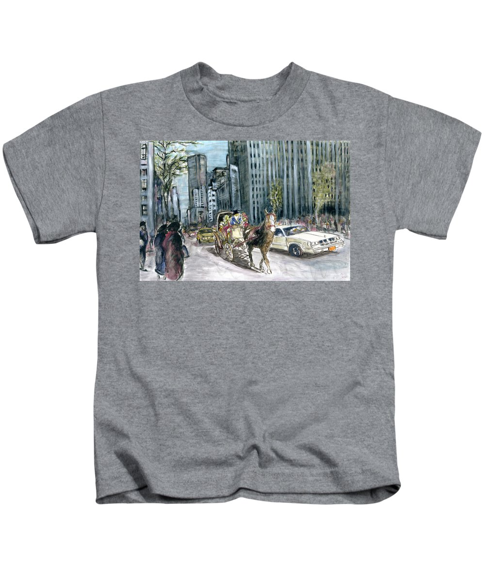 New+york Kids T-Shirt featuring the painting New York 5th Avenue Ride - Fine Art by Peter Potter