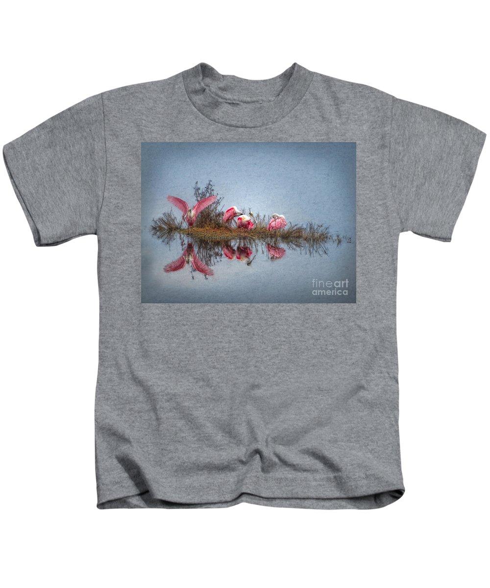 Spoonbills Kids T-Shirt featuring the digital art Roseate Spoonbills At Rest by Lianne Schneider