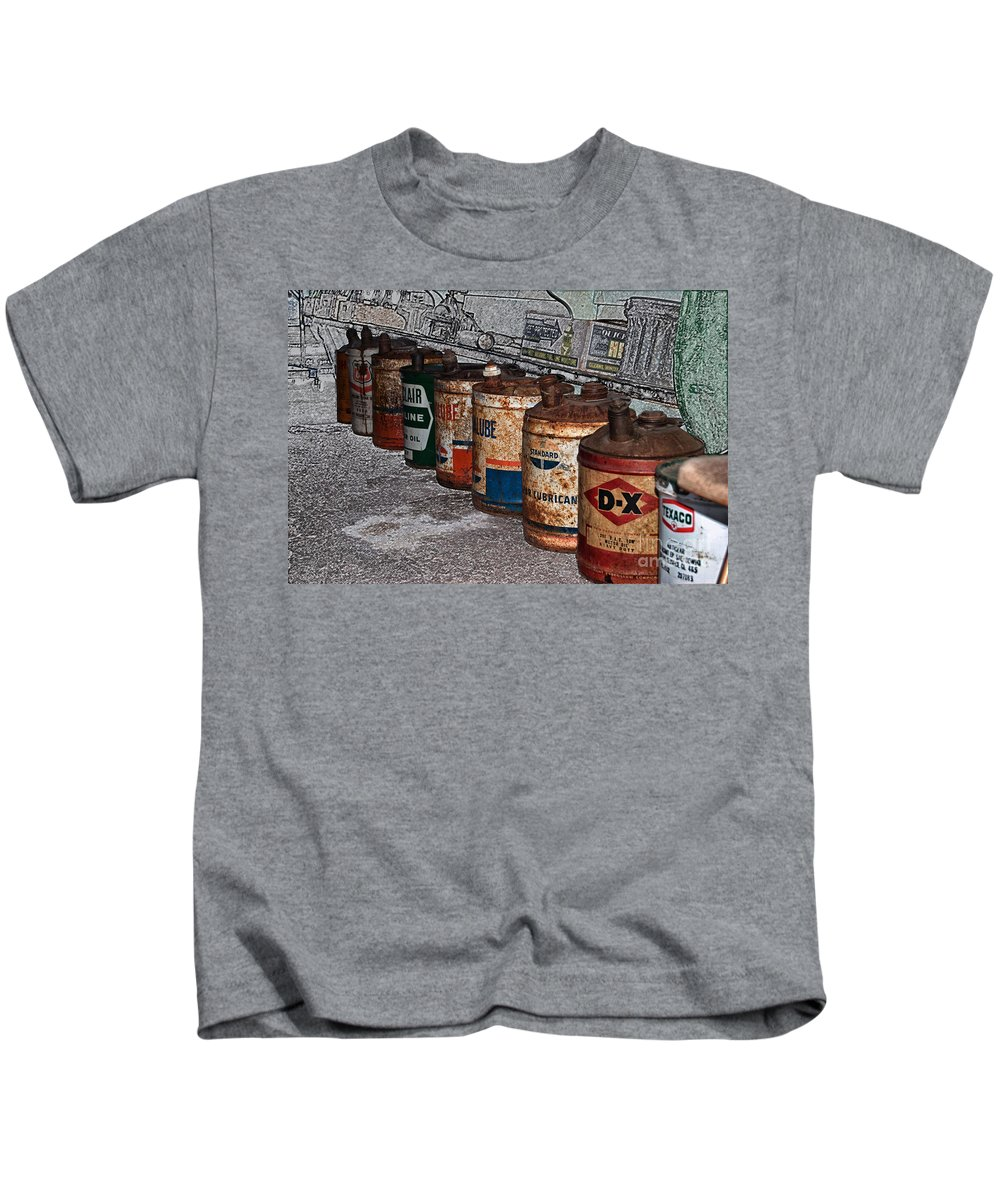 Oil Cans Kids T-Shirt featuring the photograph Route 66 Odell Il Gas Station Oil Cans Digital Art by Thomas Woolworth