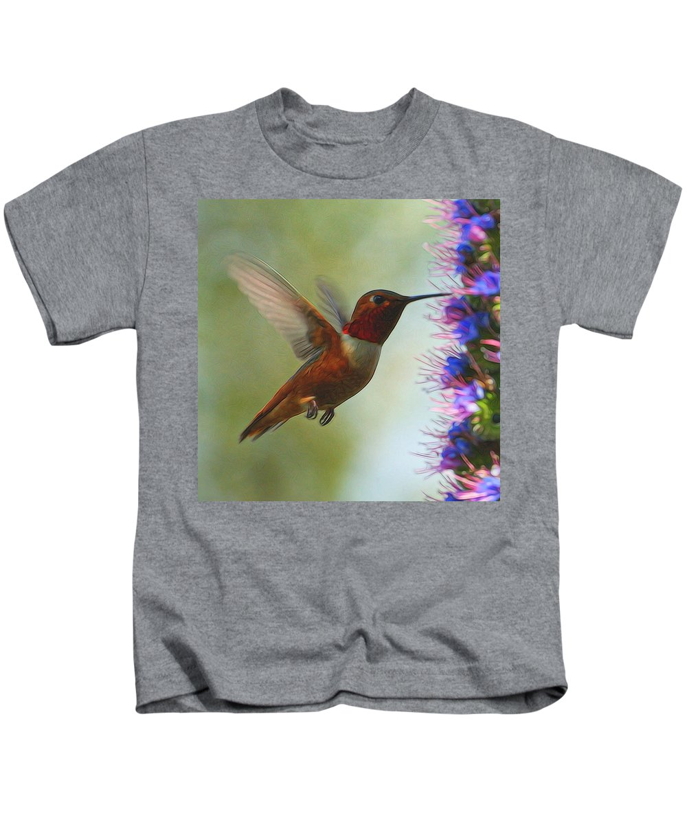 Hummingbirds Kids T-Shirt featuring the digital art Ruby Throated Hummingbird Digital Art by Ernie Echols