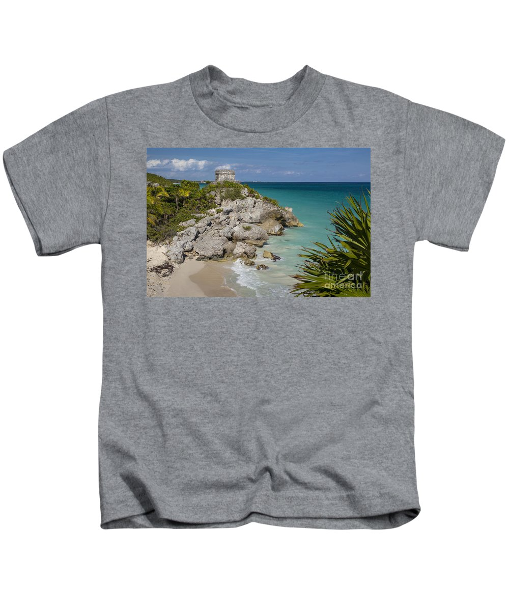 Ancient Kids T-Shirt featuring the photograph Ruins Of Mayan Temple by Brian Jannsen
