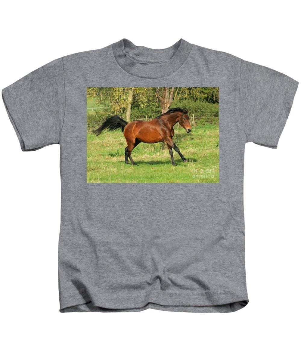 Horse Kids T-Shirt featuring the photograph Run Run by Angel Ciesniarska