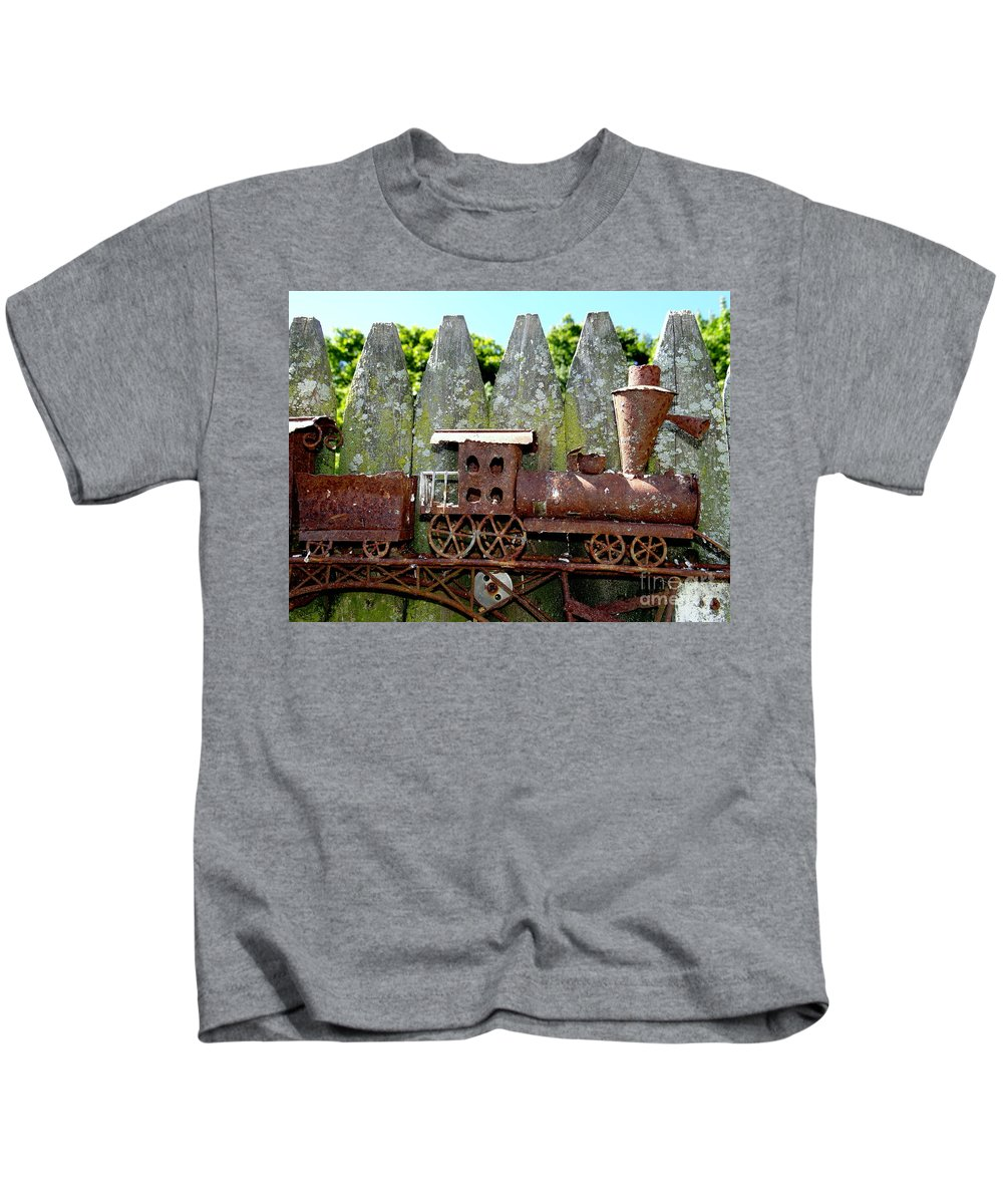 Abstract Kids T-Shirt featuring the photograph Rusted Rails by Ed Weidman