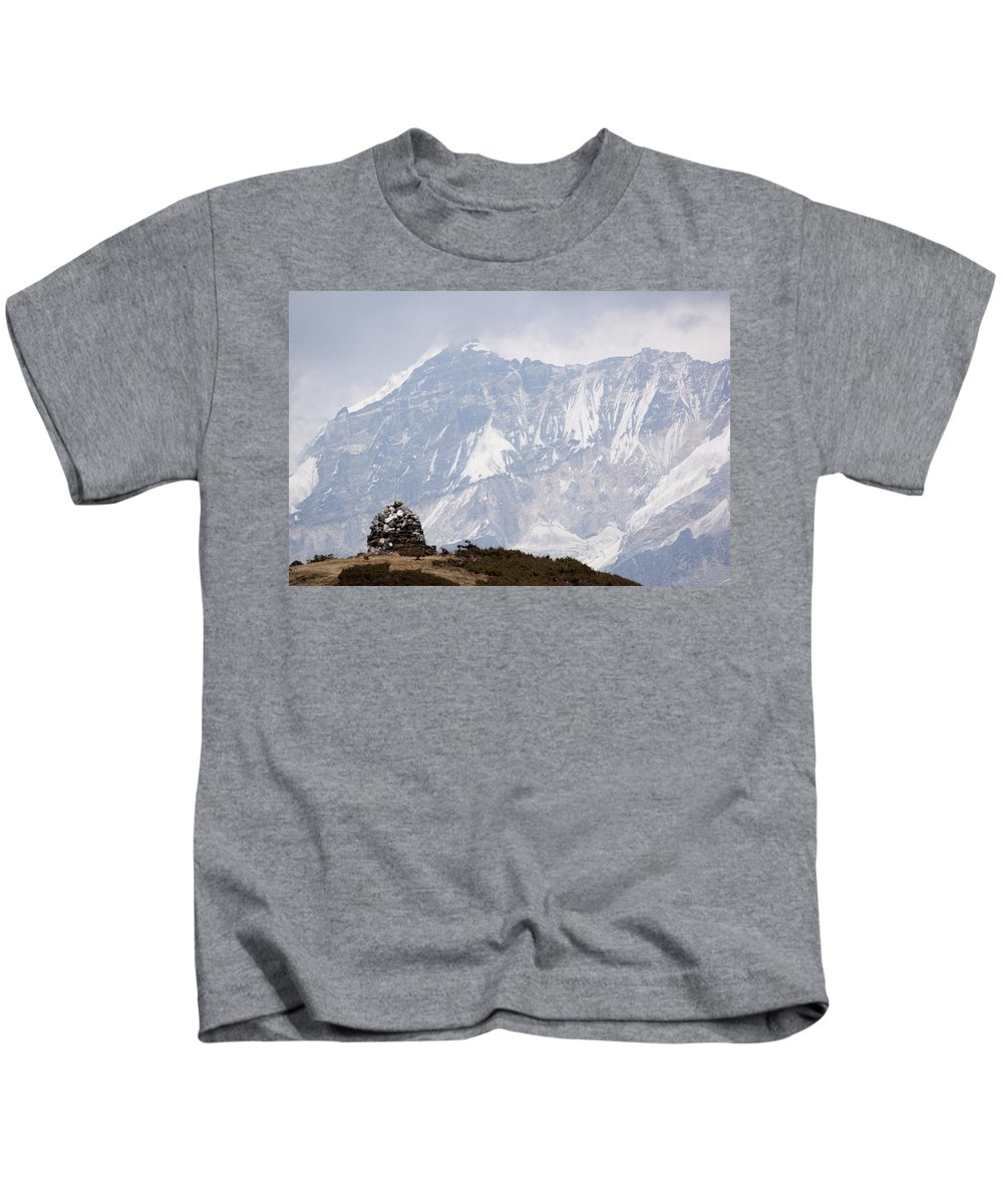 Stupa Kids T-Shirt featuring the photograph Sacred Mountain by Helix Games Photography