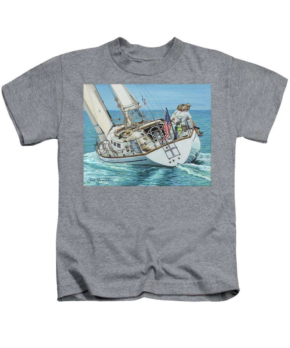 Ocean Kids T-Shirt featuring the painting Sailing Away by Jane Girardot