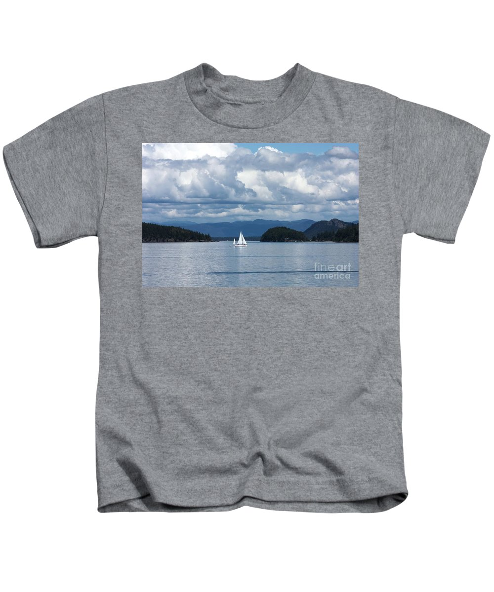 Nautical Kids T-Shirt featuring the photograph Sailing In The San Juans by Carol Groenen