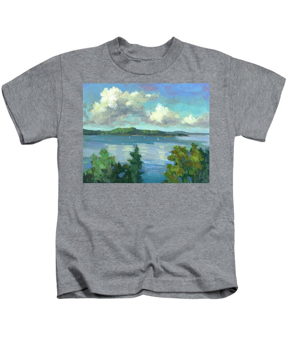 Sailing On Puget Sound Kids T-Shirt featuring the painting Sailing On Puget Sound by Diane McClary
