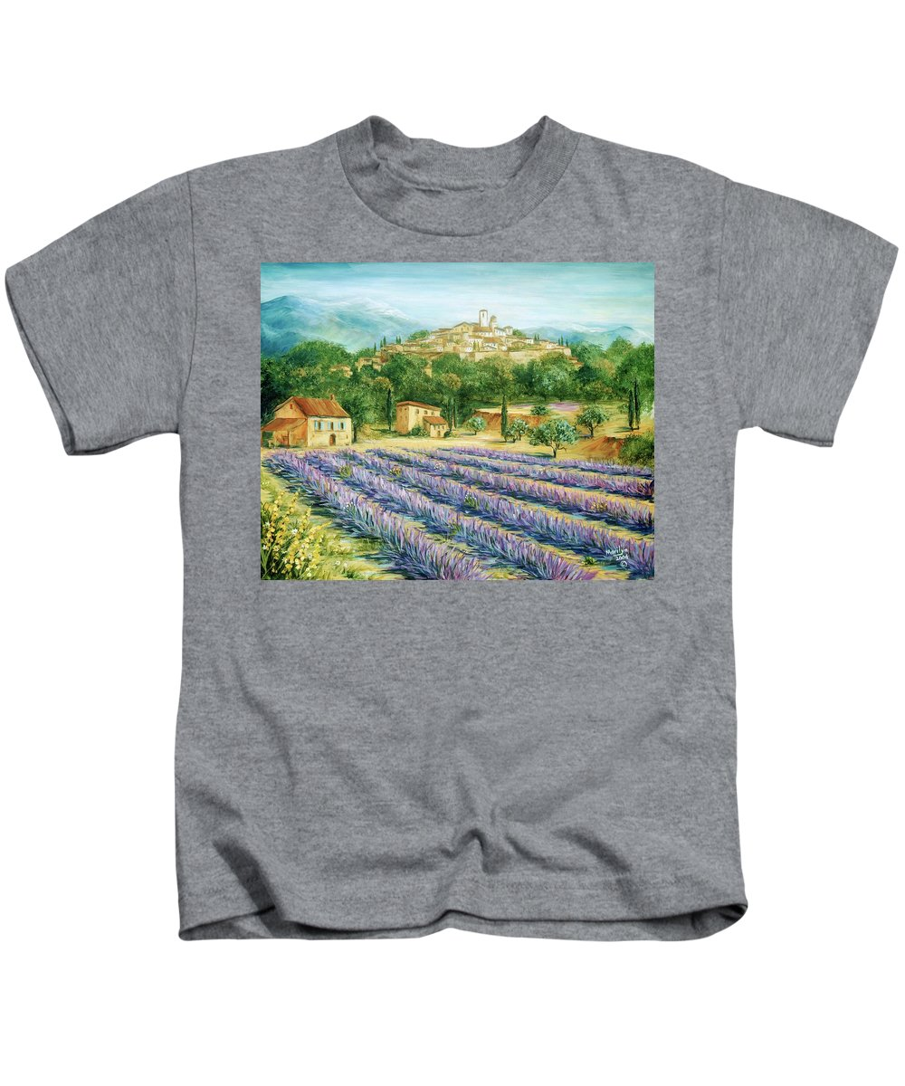 Europe Kids T-Shirt featuring the painting Saint Paul De Vence And Lavender by Marilyn Dunlap