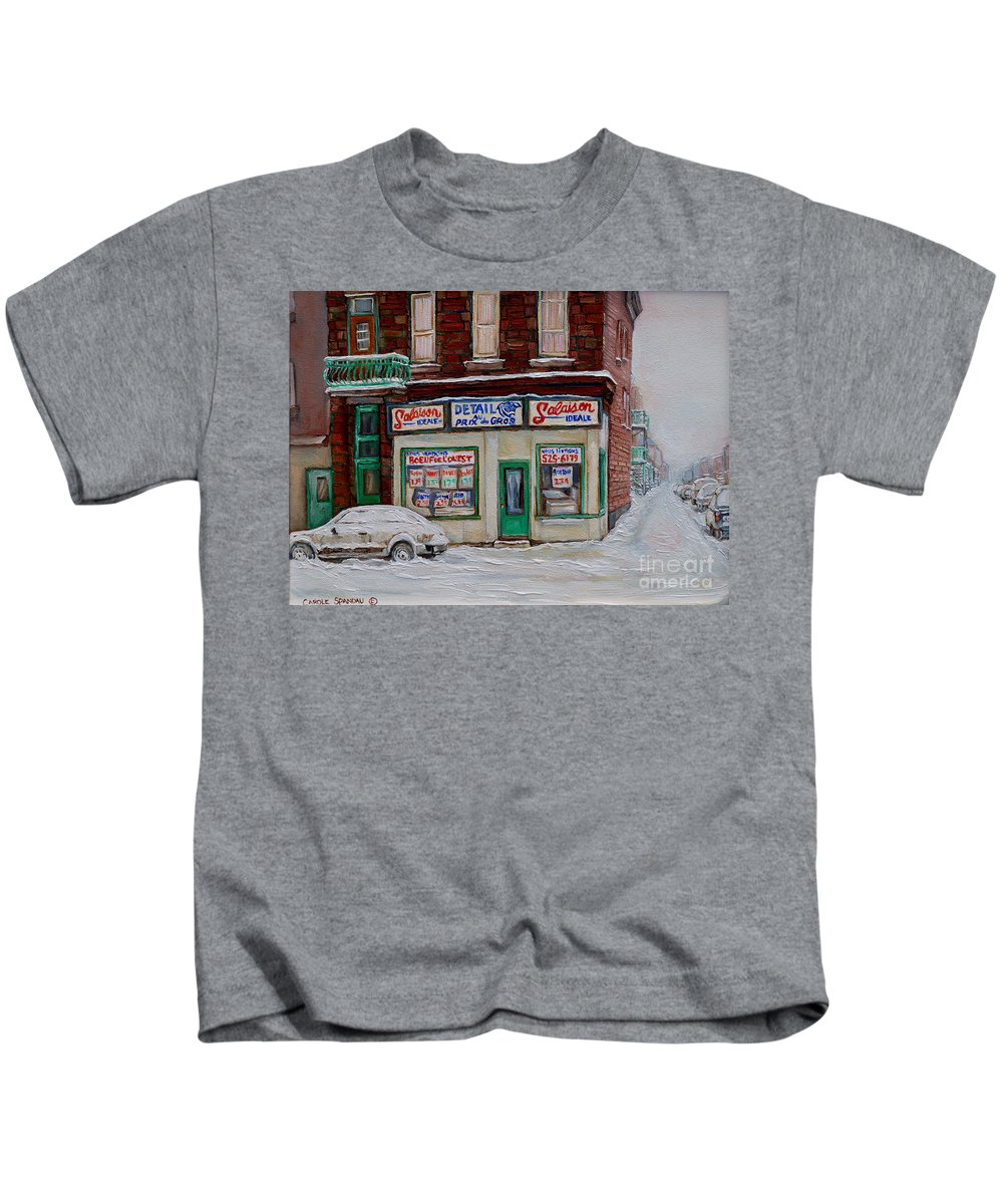 Montreal Kids T-Shirt featuring the painting Salaison Ideale Montreal by Carole Spandau