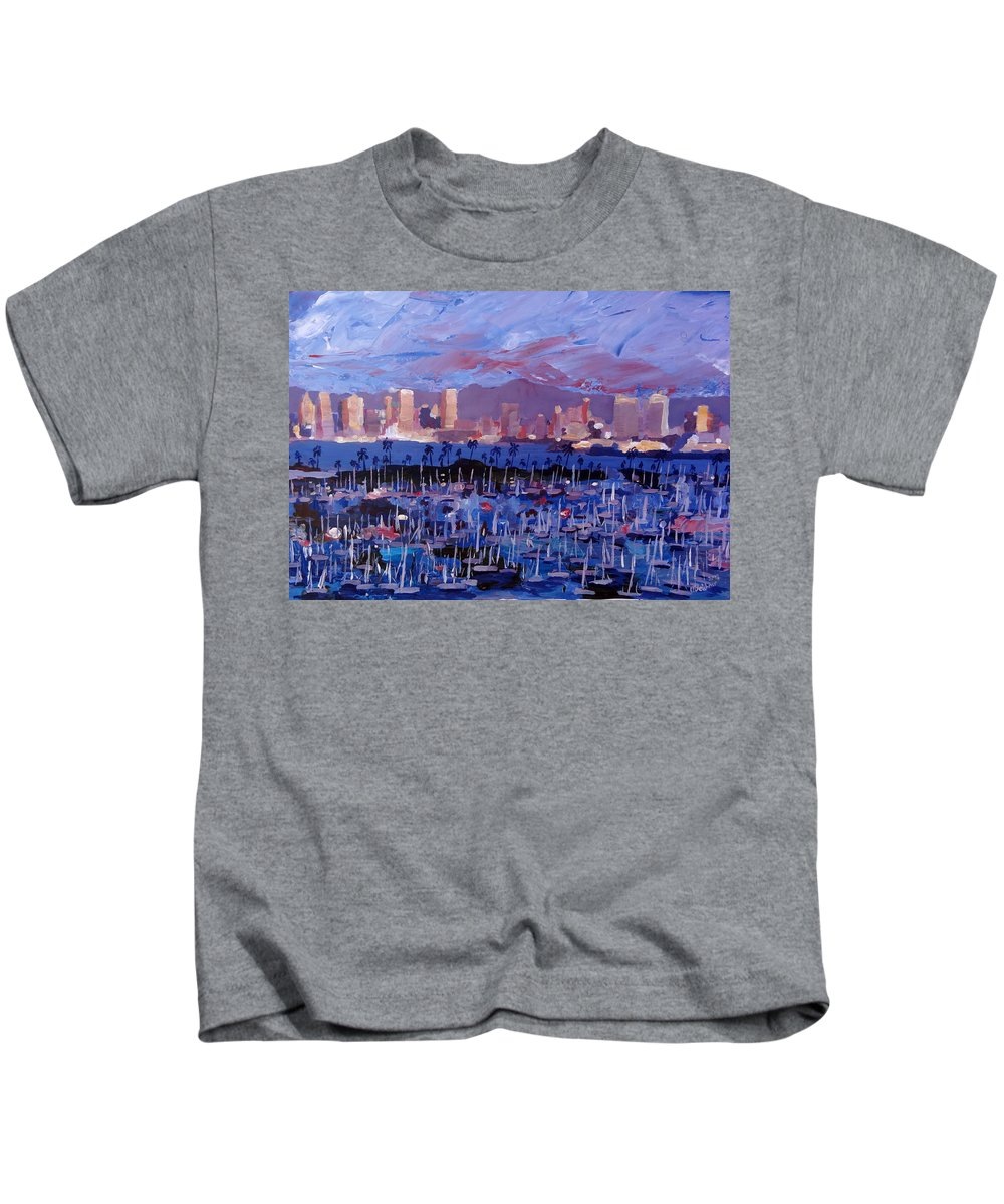 San Diego Kids T-Shirt featuring the painting San Diego Skyline With Marina At Dusk by M Bleichner