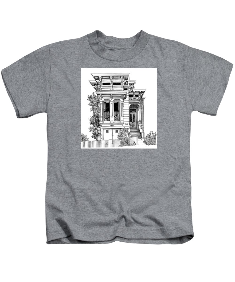 Pen And Ink Kids T-Shirt featuring the drawing San Fracisco Victorian2 by Mary Palmer