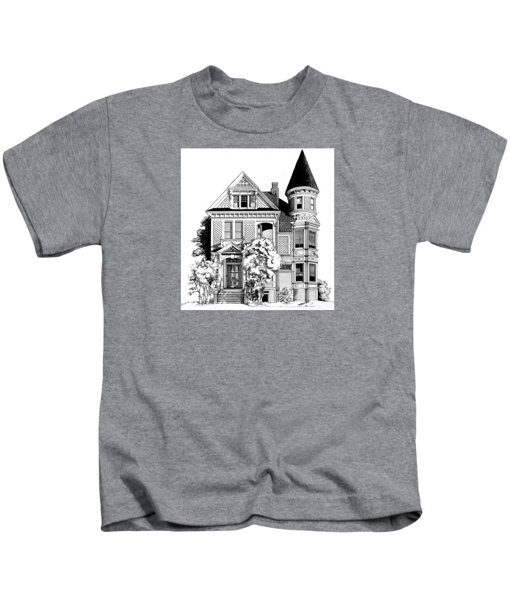 Pen And Ink Kids T-Shirt featuring the drawing San Francisco Victorian by Mary Palmer