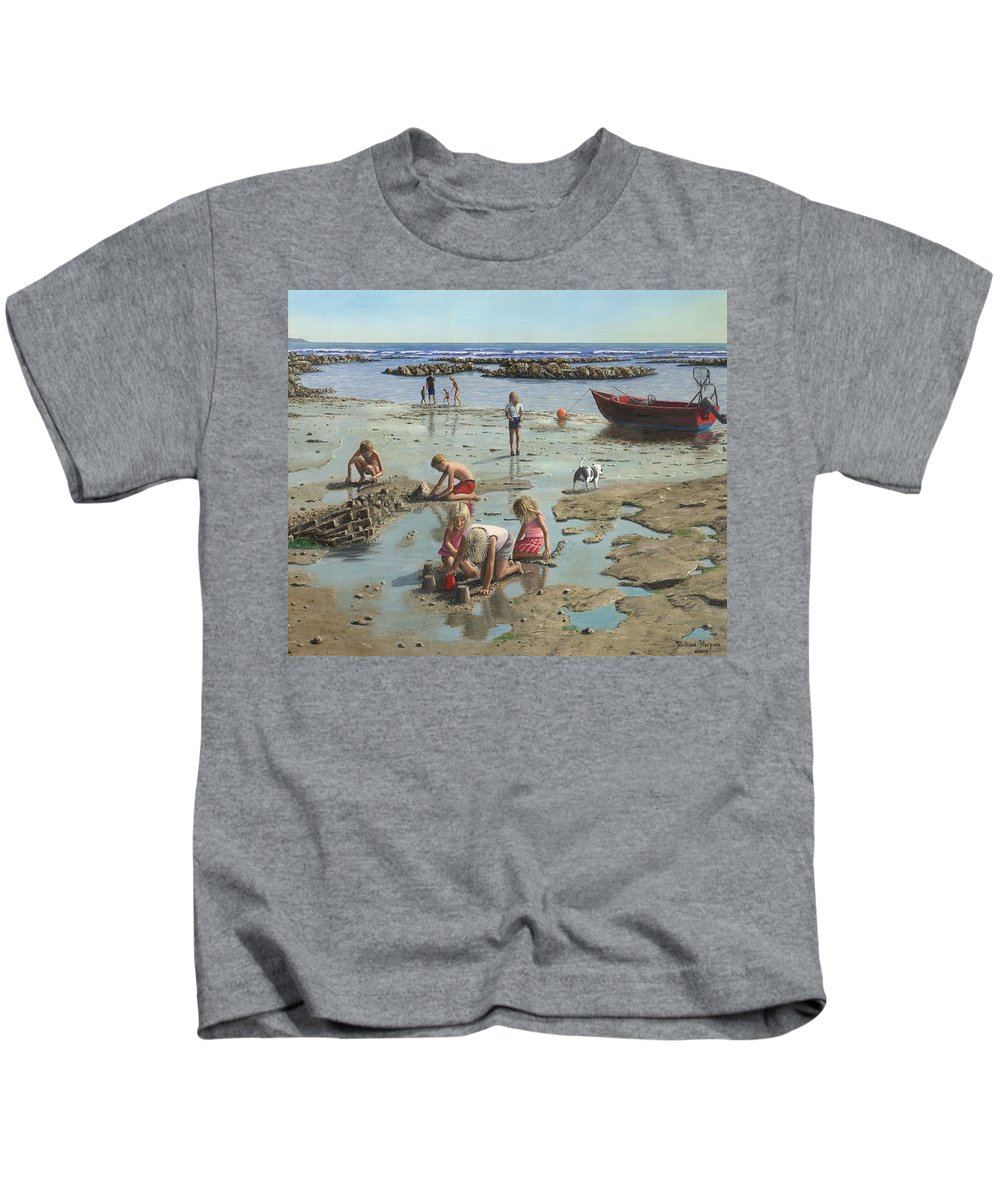 Landscape Kids T-Shirt featuring the painting Sandcastles by Richard Harpum