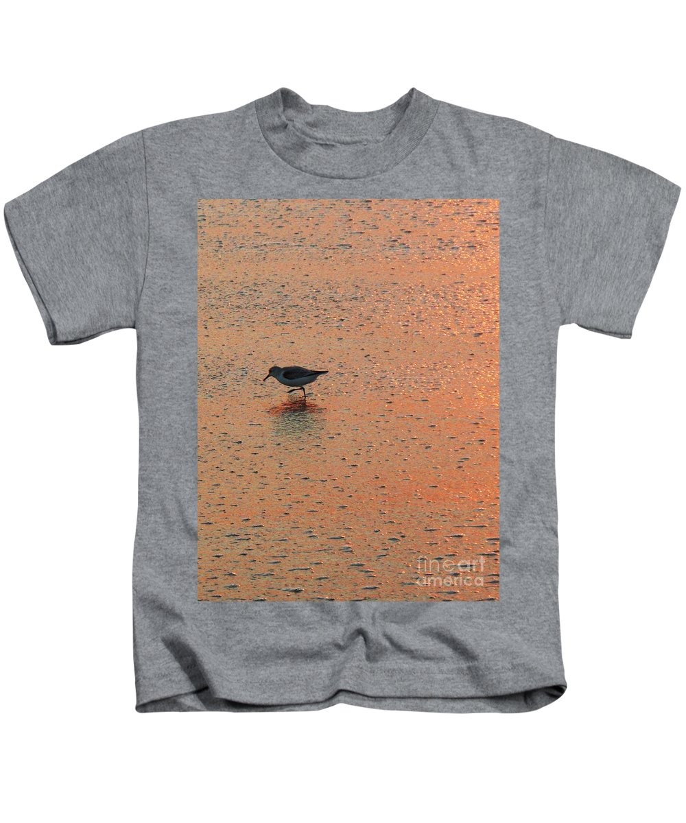 Beach Kids T-Shirt featuring the photograph Sandpiper On Shoreline by Eric Schiabor