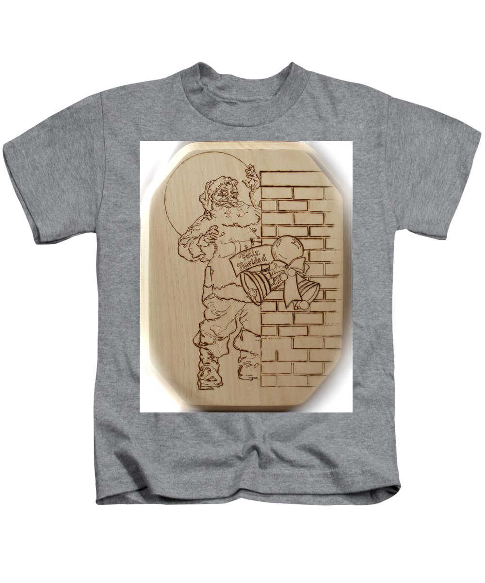 Pyrography Kids T-Shirt featuring the pyrography Santa Claus - Feliz Navidad by Sean Connolly