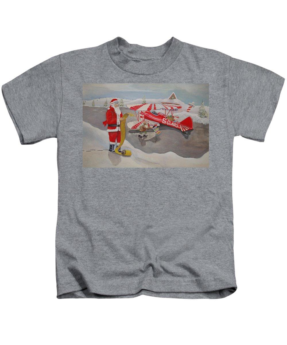 Rick Huotari Kids T-Shirt featuring the painting Santa's Airport by Rick Huotari
