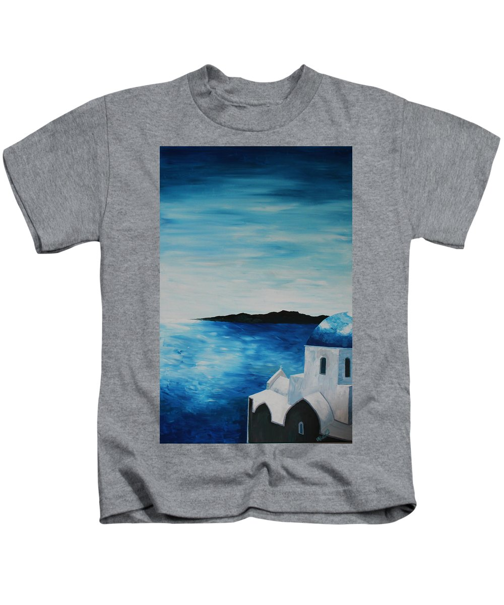 Santorin Kids T-Shirt featuring the painting Santorini Blue Dome by M Bleichner