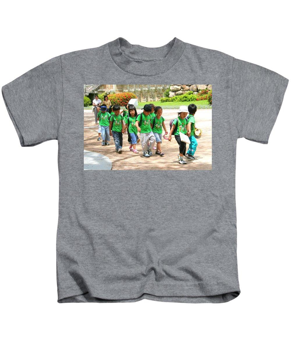 Child Kids T-Shirt featuring the photograph School Children In Gyeongju Korea by Laurel Talabere