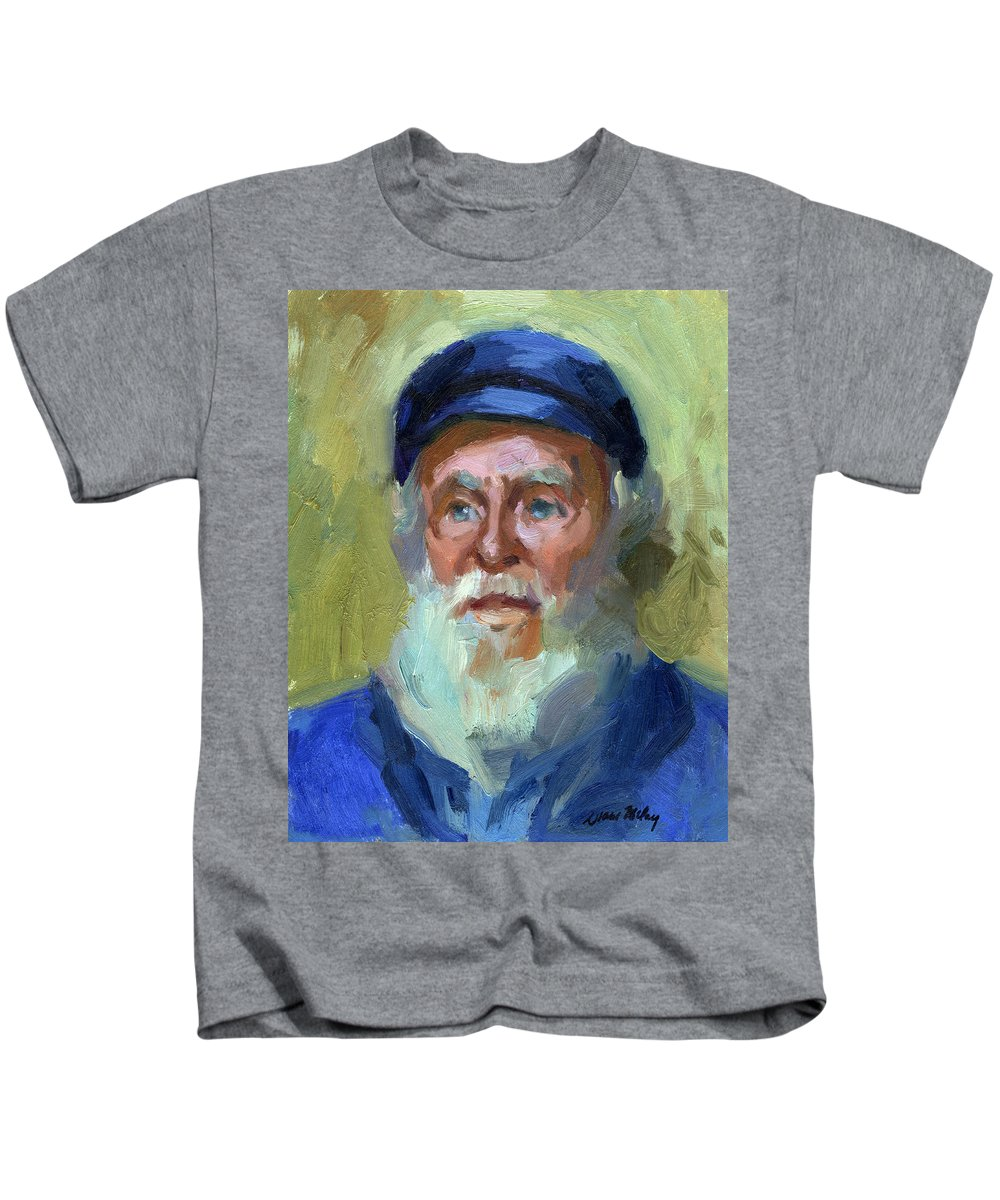 Ship Captain Kids T-Shirt featuring the painting Sea Captain 1 by Diane McClary