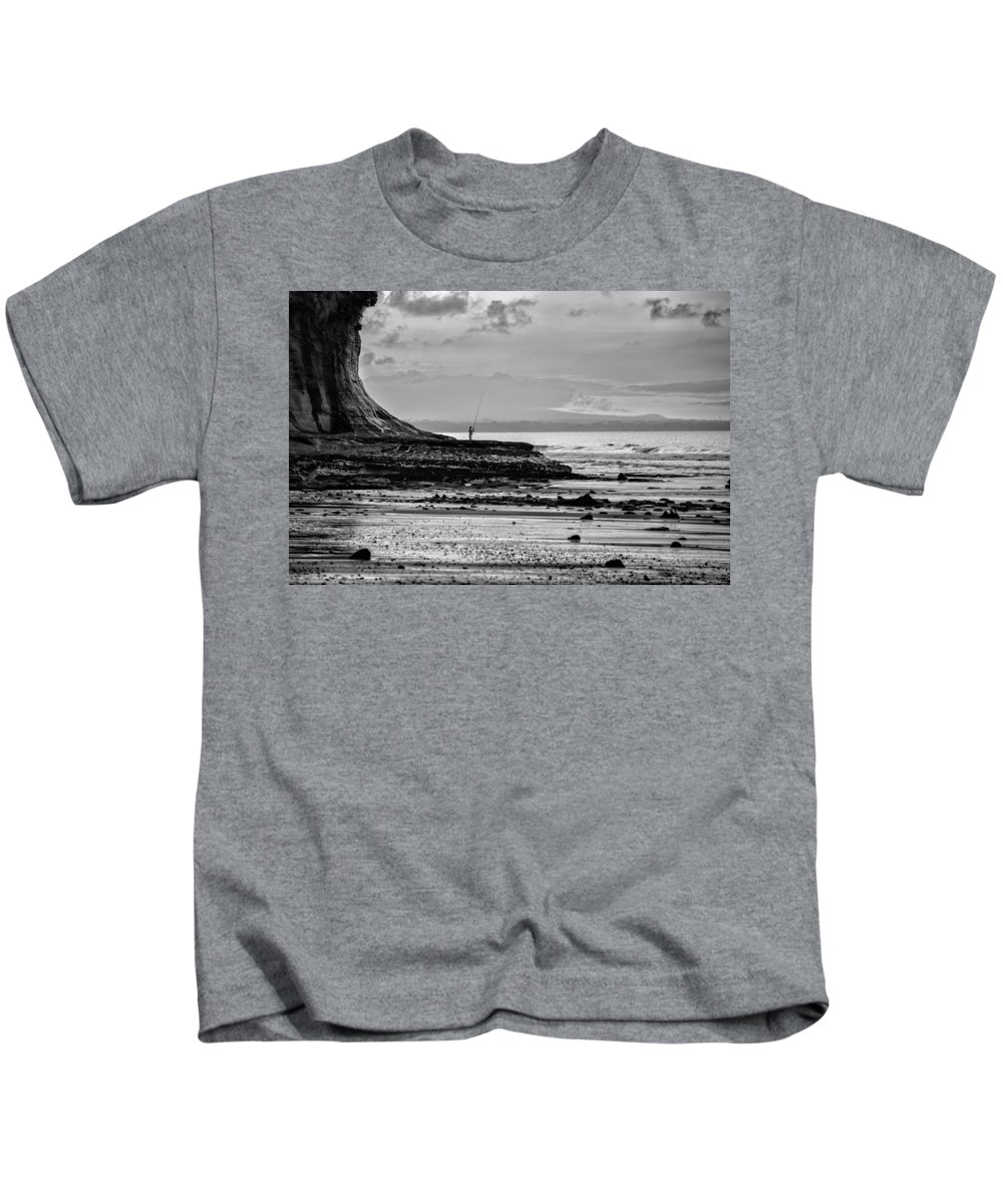 Wall Art Kids T-Shirt featuring the photograph Sea Fisherman At Low Tide by Russ Dixon