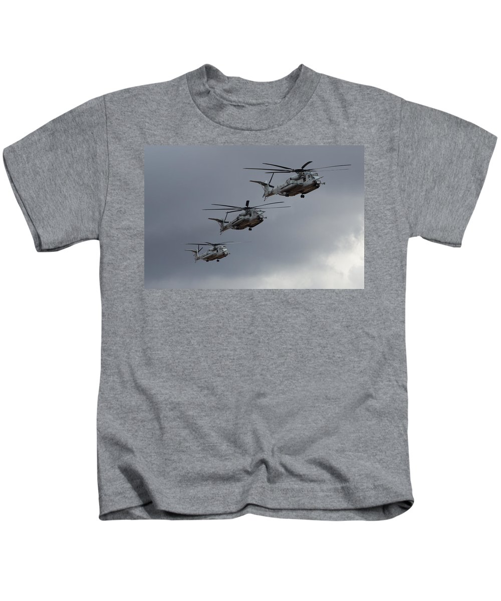 Ch-53 Kids T-Shirt featuring the photograph Sea Stallions by John Daly