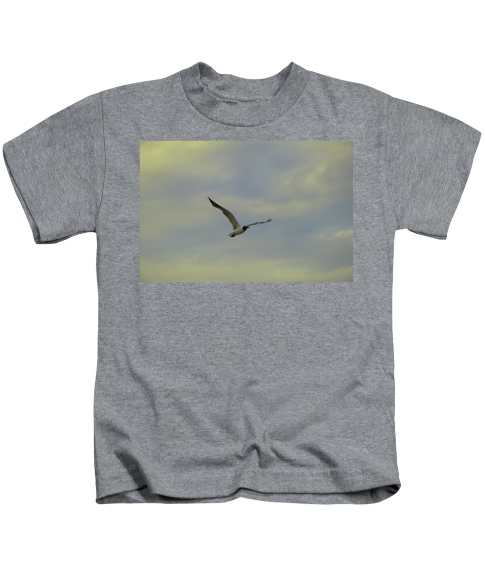 Seagull Kids T-Shirt featuring the photograph Seagull Soaring by Bill Cannon