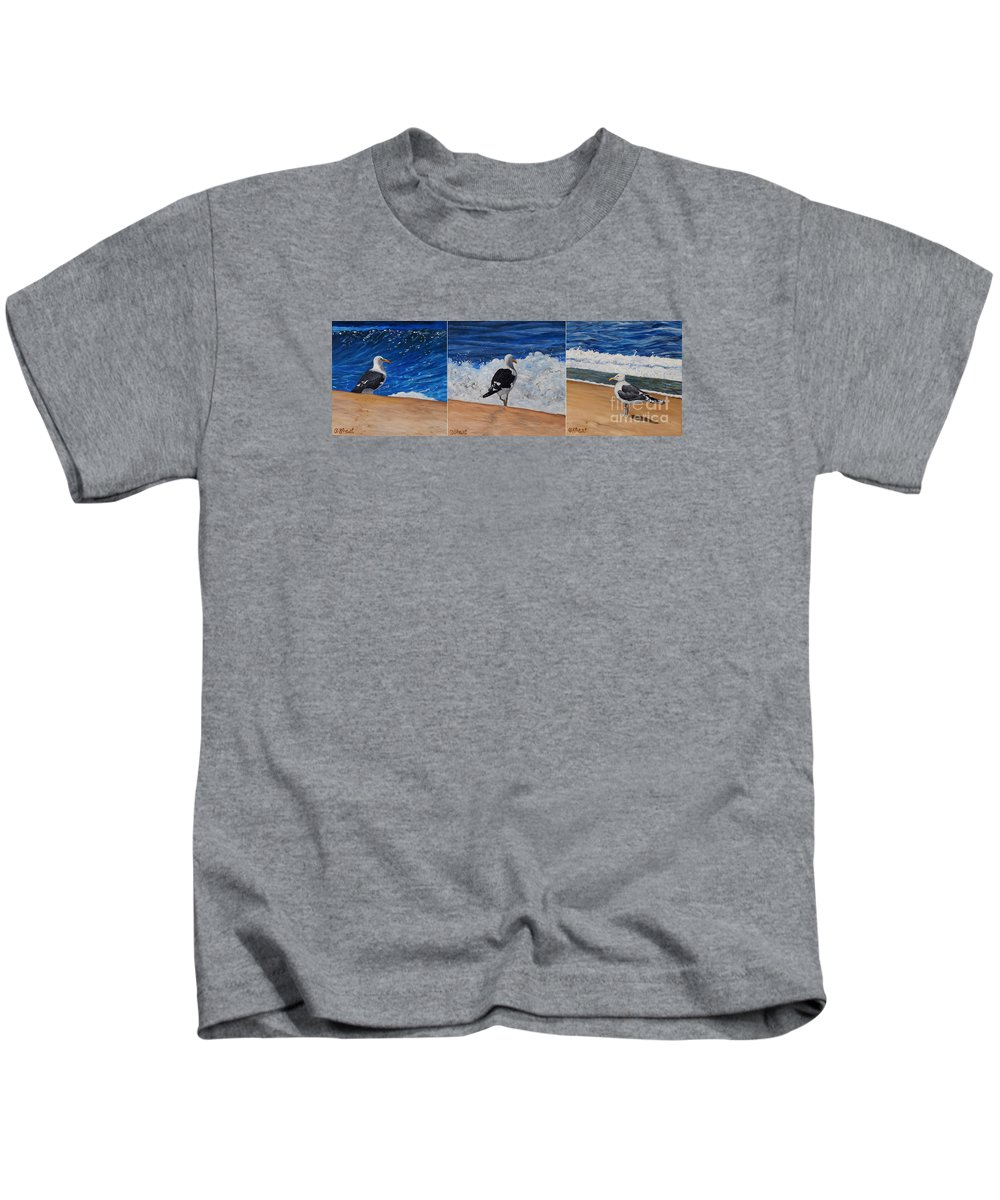 Seagulls Kids T-Shirt featuring the painting Seagull Triptych by Caroline Street