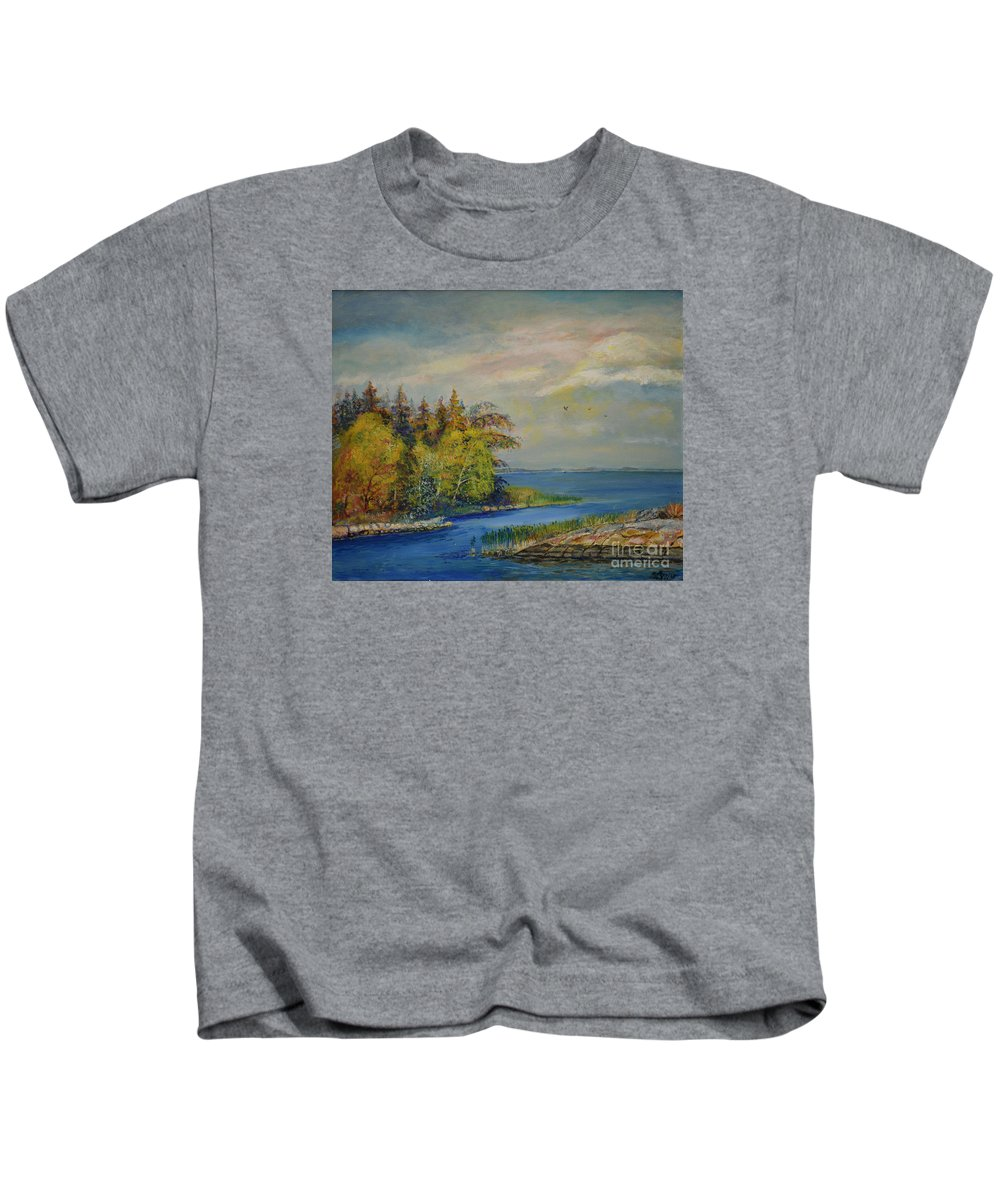 Raija Merila Kids T-Shirt featuring the painting Seascape From Hamina 3 by Raija Merila