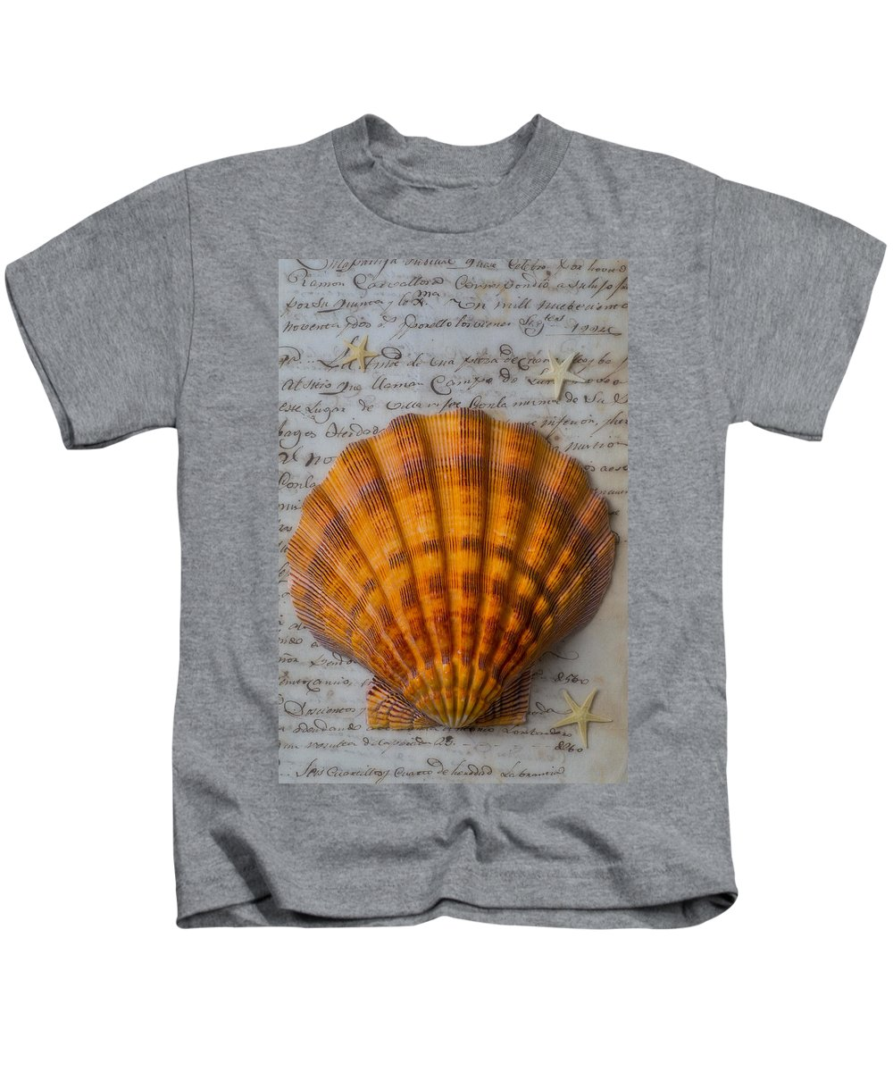 Seashells Kids T-Shirt featuring the photograph Seashell And Words by Garry Gay