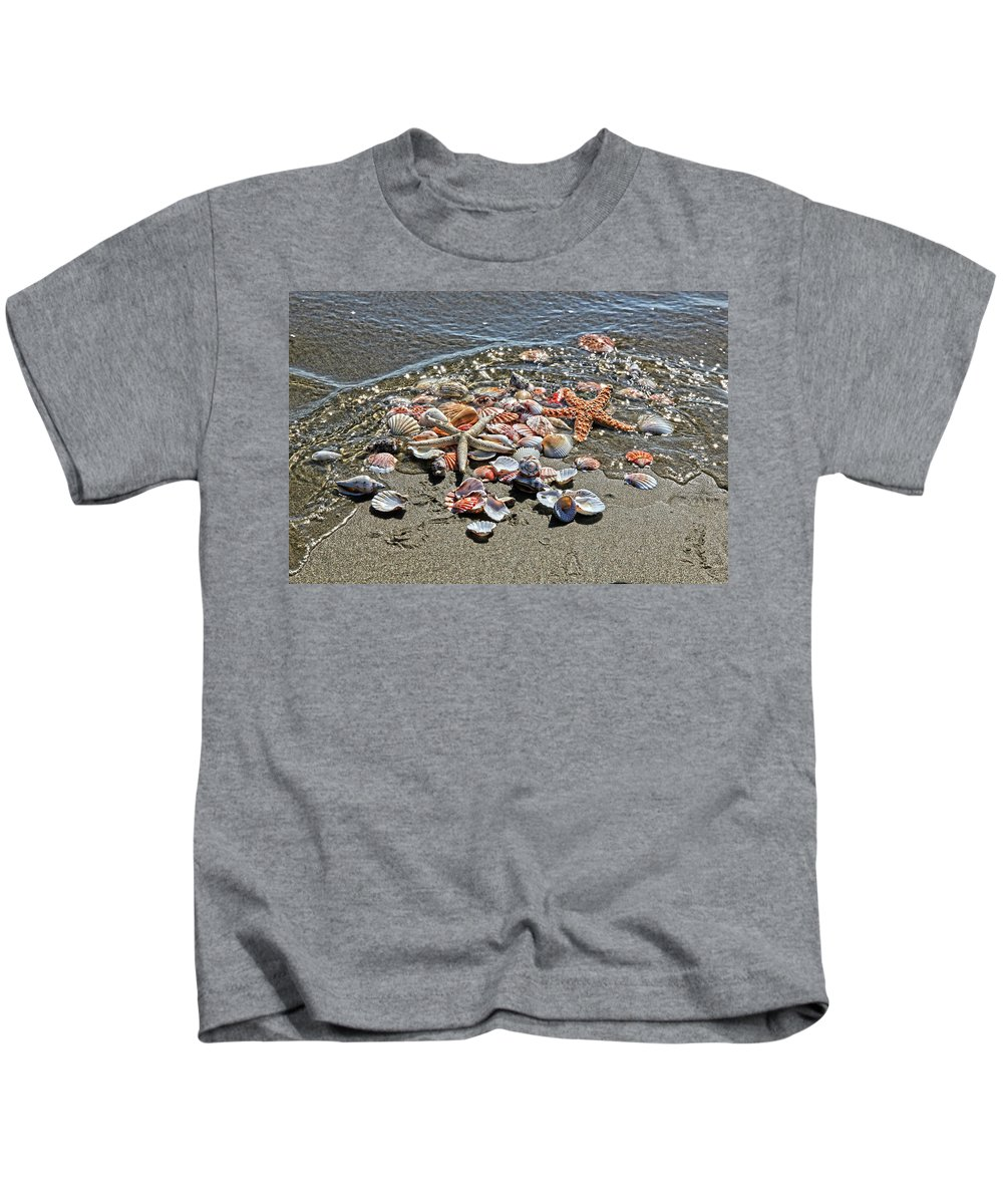 Sea Shells Kids T-Shirt featuring the photograph Seashells by Athena Mckinzie