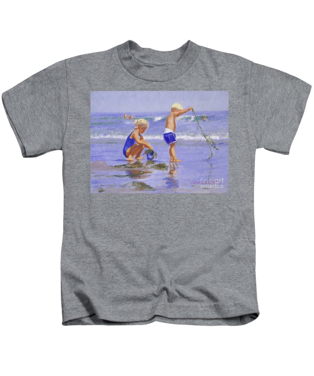 Beach Kids T-Shirt featuring the painting Seaweed Play by Candace Lovely