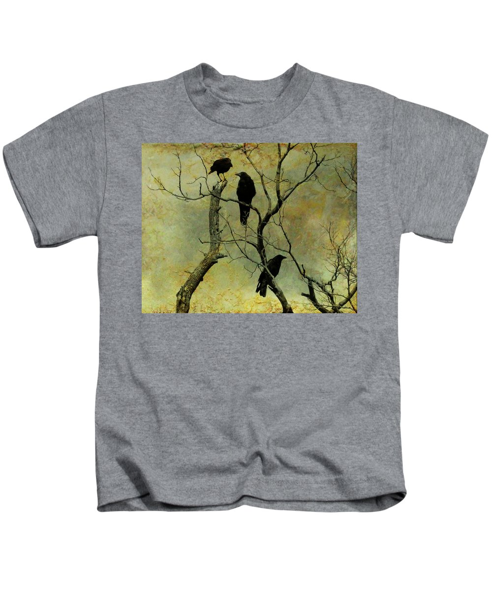 Crows Kids T-Shirt featuring the photograph Secretive Crows by Gothicrow Images
