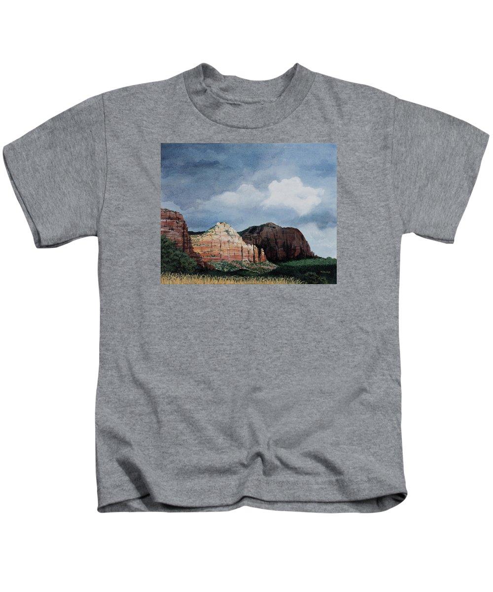 Sedona Arizona Kids T-Shirt featuring the painting Sedona Storm by Mary Palmer