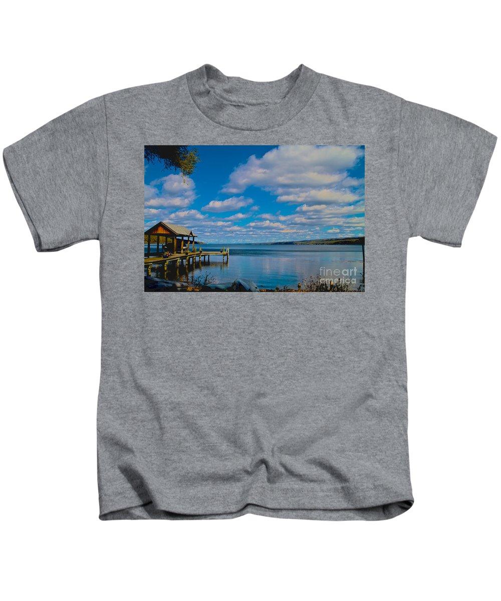 Seneca Kids T-Shirt featuring the photograph Seneca Lake At Glenora Point by William Norton