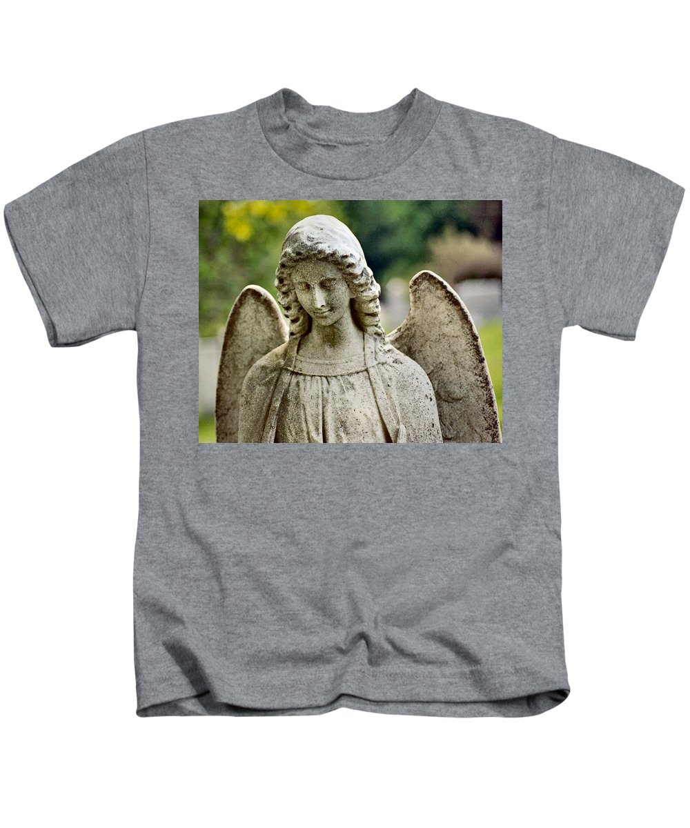Stone Angel Kids T-Shirt featuring the photograph Serene by Gothicrow Images