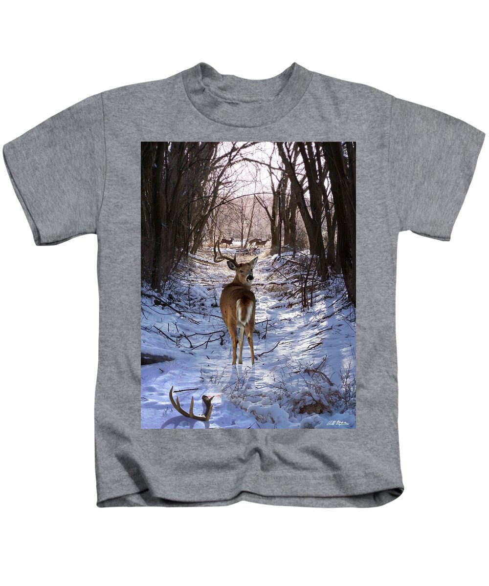 Deer Kids T-Shirt featuring the mixed media Shedding Time by Bill Stephens
