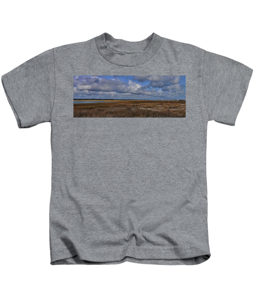Wright Kids T-Shirt featuring the photograph Shell Island To Figure Eight Panorama by Paulette B Wright